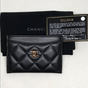 bdd54d8fde0 CHANEL Bags   Lambskin Quilted Card Holder With Gold Logo   Poshmark